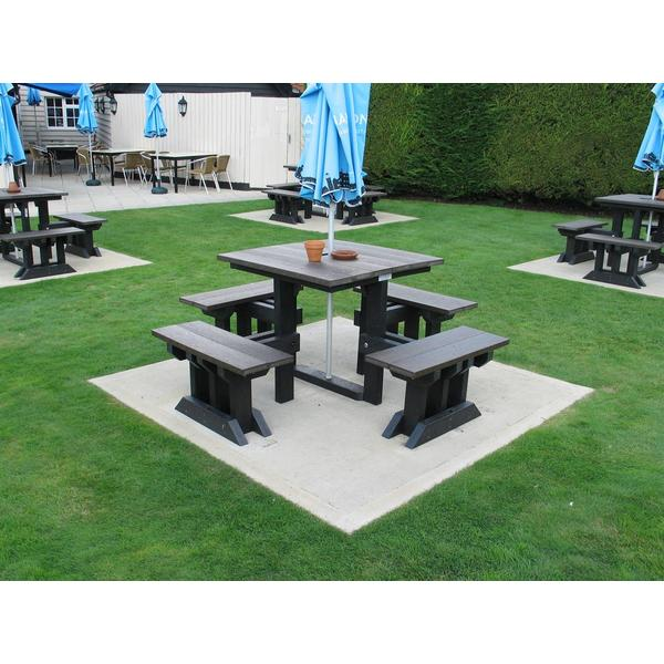Square dorey table and seats