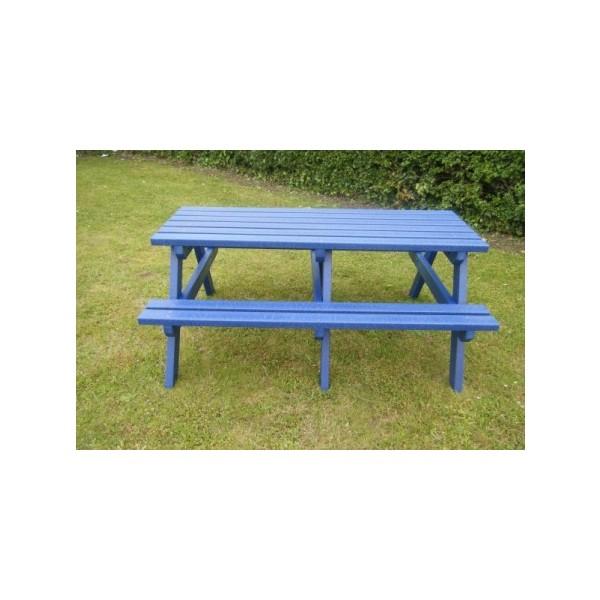 Square coloured picnic table blue