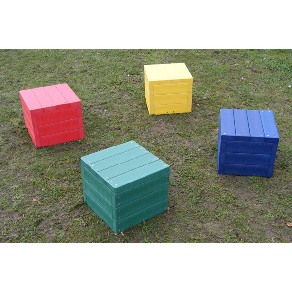 Square coloured block bench set