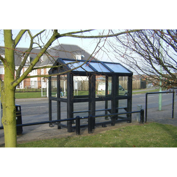 Square bus stop shelter