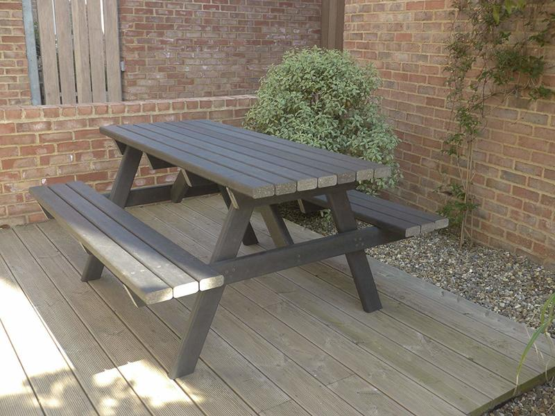 Picnic Table made from Recycled Products, Heavy Duty, Black, 1.5m x 1.44m