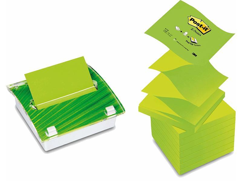 Post-it Z Notes - Designer Dispenser + 8 Ultra & Pastel Green Refill Pads - 76 mm x 76 mm